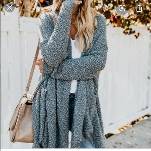 Vici fuzzy grey knit cardigan
